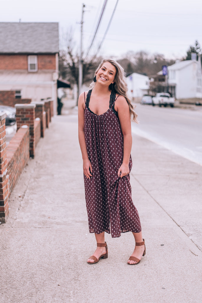 Red Bean Printed Jumpsuit
