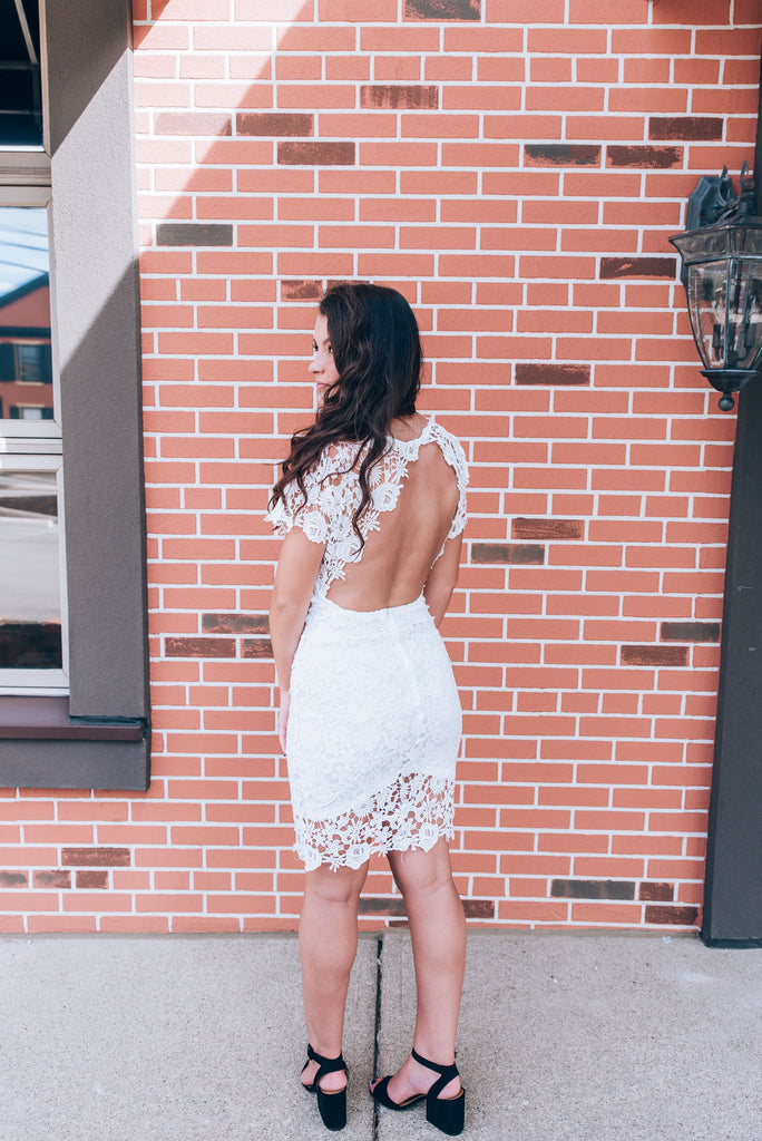 Open Back White Lace Dress