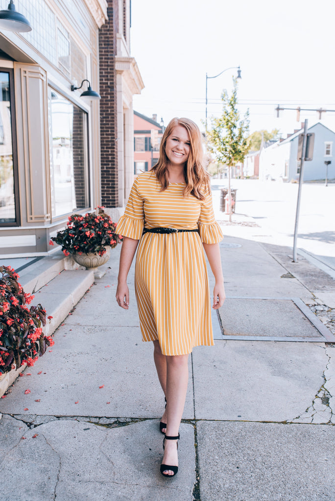 Yellow Striped Midi Dress