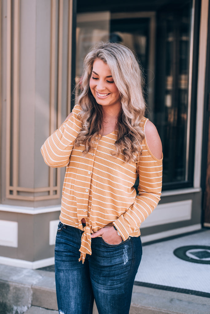 Easy Going Striped Cold Shoulder Top, Mustard