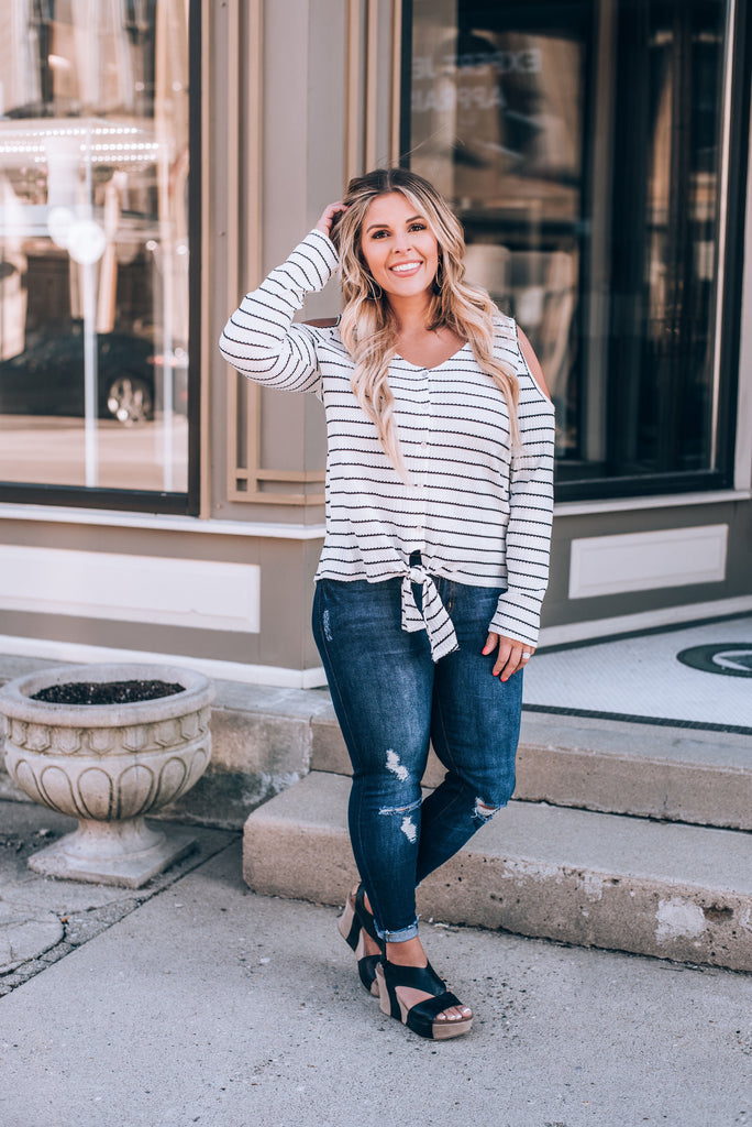 Easy Going Striped Cold Shoulder Top, White