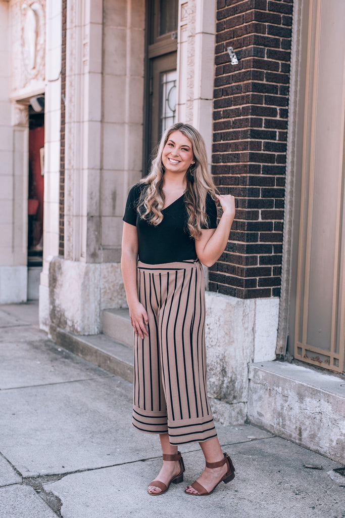 Striped Culotte Pants, Taupe