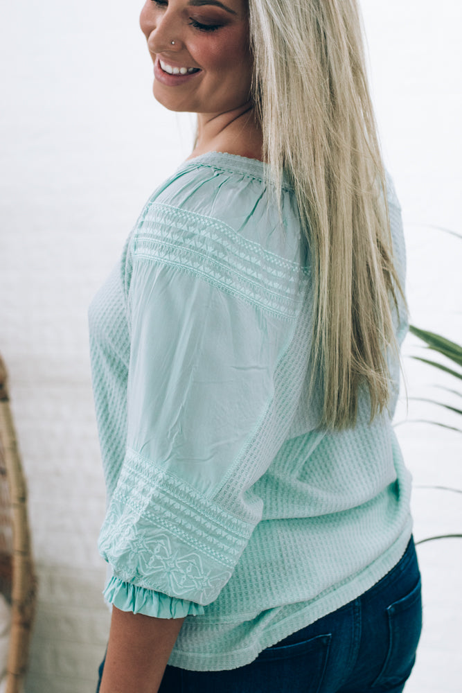 Emrie Embroidered Sleeve  Blouse, Sage