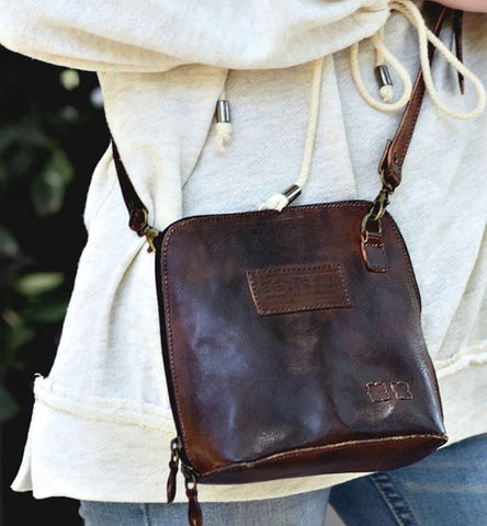 Tahiti Leather Crossbody, Tan Rustic
