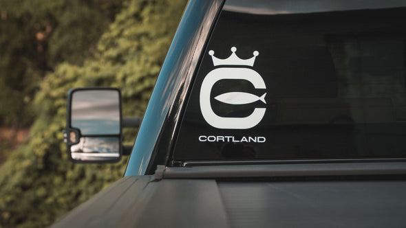 Cortland Logo Boat/Window Die-Cut Sticker - White