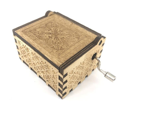 HAND ENGRAVED WOODEN MUSIC BOX