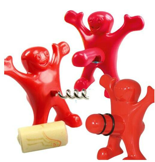 Happy Man Bottle Opener, Stopper, and Corkscrew (3-Piece)