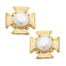 Load image into Gallery viewer, Susan Shaw Maltese Cross Pearl Earring