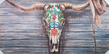 Load image into Gallery viewer, Cattle Skull Flowers Canvas Wall Art 56 x 28