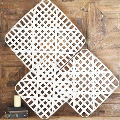 White Wood Weave Wall Art