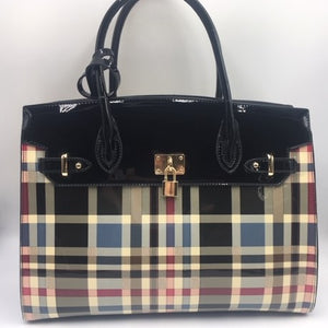 Big Black Checkered Tote Handbag w/ matching Wallet