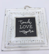 Load image into Gallery viewer, Small Metal Chalkboard Style Sign with String Hanger