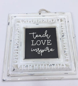 Small Metal Chalkboard Style Sign with String Hanger
