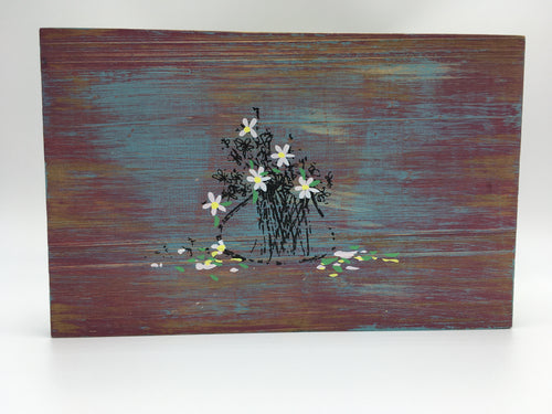 White Wild Flowers Art Wood with Rope Hanger