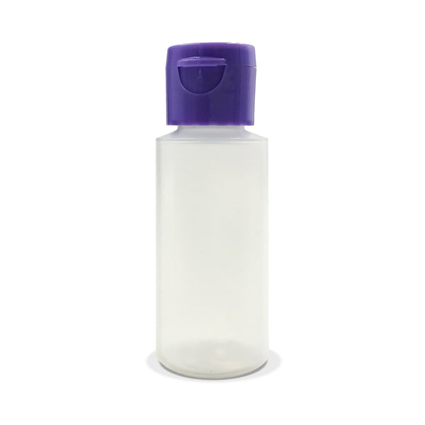 Refillable Flip-Top Travel Bottle with Purple Cap (1oz)