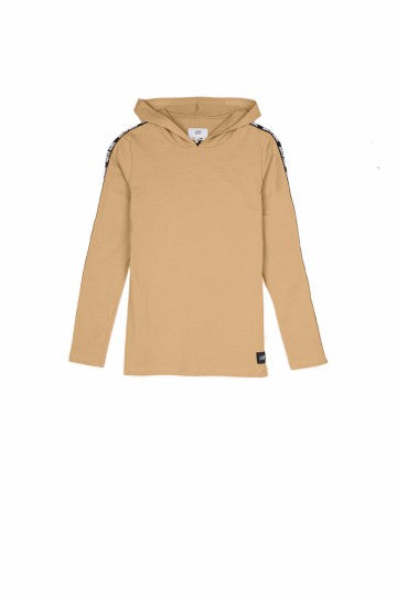 Sixth June hooded t-shirt long sleeves logo beige