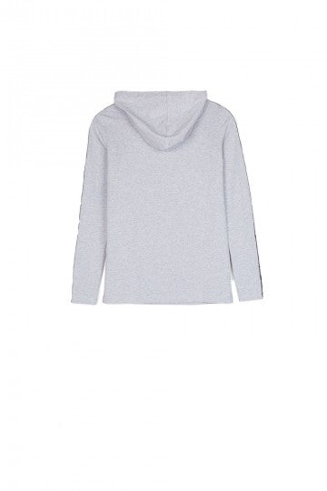 Sixth June hooded t-shirt long sleeves logo light grey