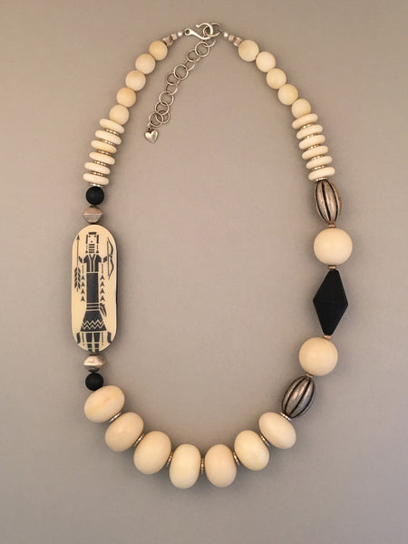 Single strand tagua and sterling silver statement necklace.  Handcrafted, one-of-a-kind.