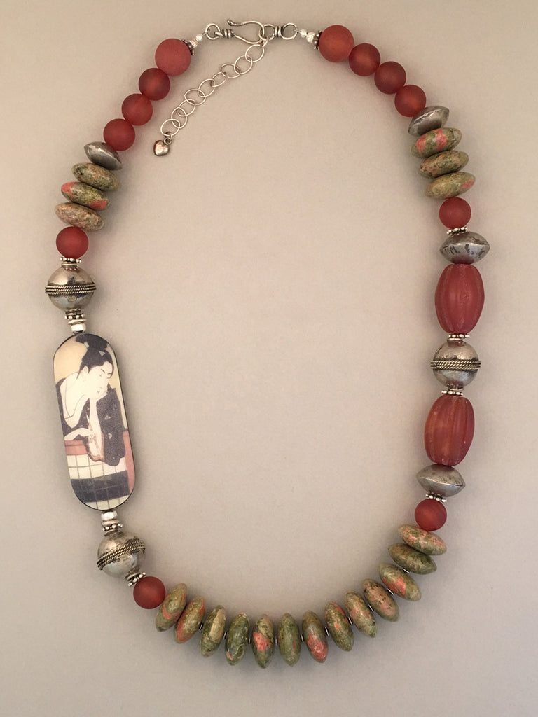Single strand unakite and sterling silver statement necklace.  Handcrafted, one-of-a-kind.