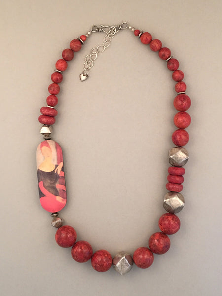 Single strand coral and sterling silver statement necklace.  Handcrafted, one-of-a-kind.