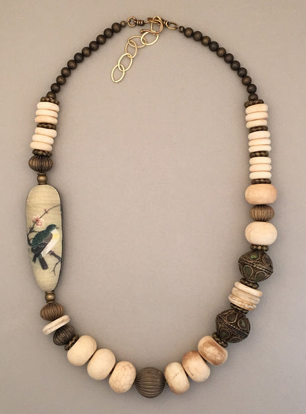 Single strand jasper and brass statement necklace.  Handcrafted.  Polymer clay art bead with bird image provides a focal point.