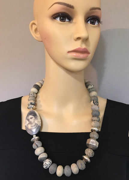 Natural Jasper and Silver Statement Necklace
