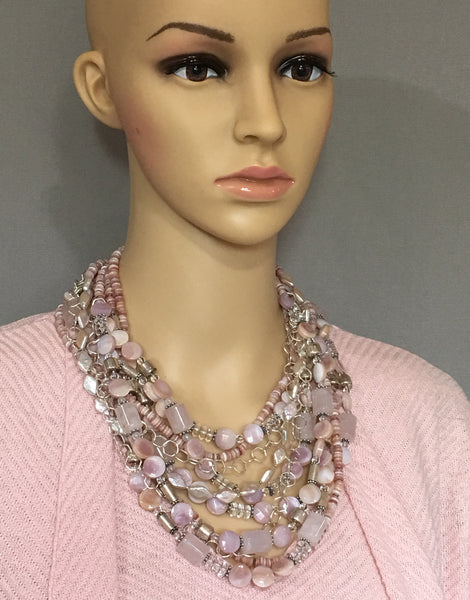 Multi-Strand Mother of Pearl and Silver Statement Necklace
