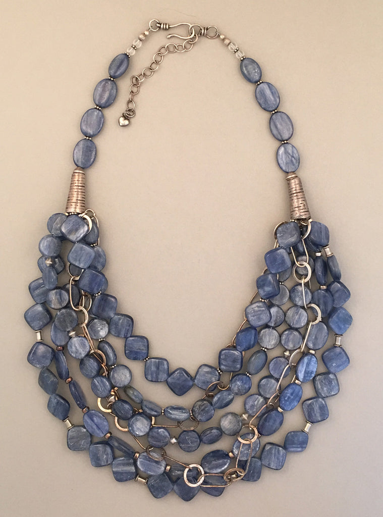 Multi-strand kyanite and sterling silver statement necklace.  Handcrafted, one-of-a-kind.