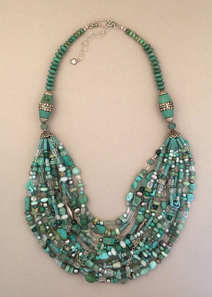 Multi-strand turquoise and sterling silver statement necklace.  Handcrafted, one-of-a-kind.