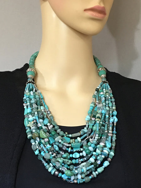Multi-Strand Turquoise and Silver Statement Necklace