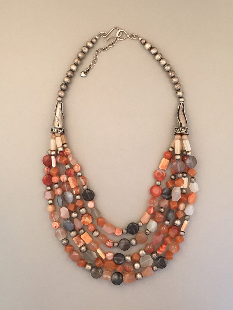 Multi-strand mixed bead and sterling silver statement necklace.  Handcrafted, one-of-a-kind.