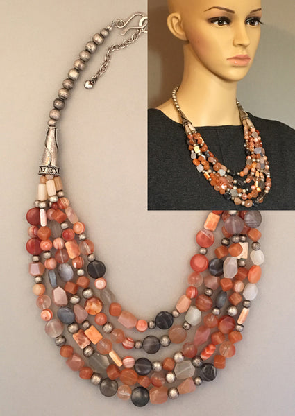 Multi-Strand Moonstone and Silver Statement Necklace