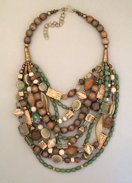 Multi-Strand Mixed Beads and Brass Statement Necklace
