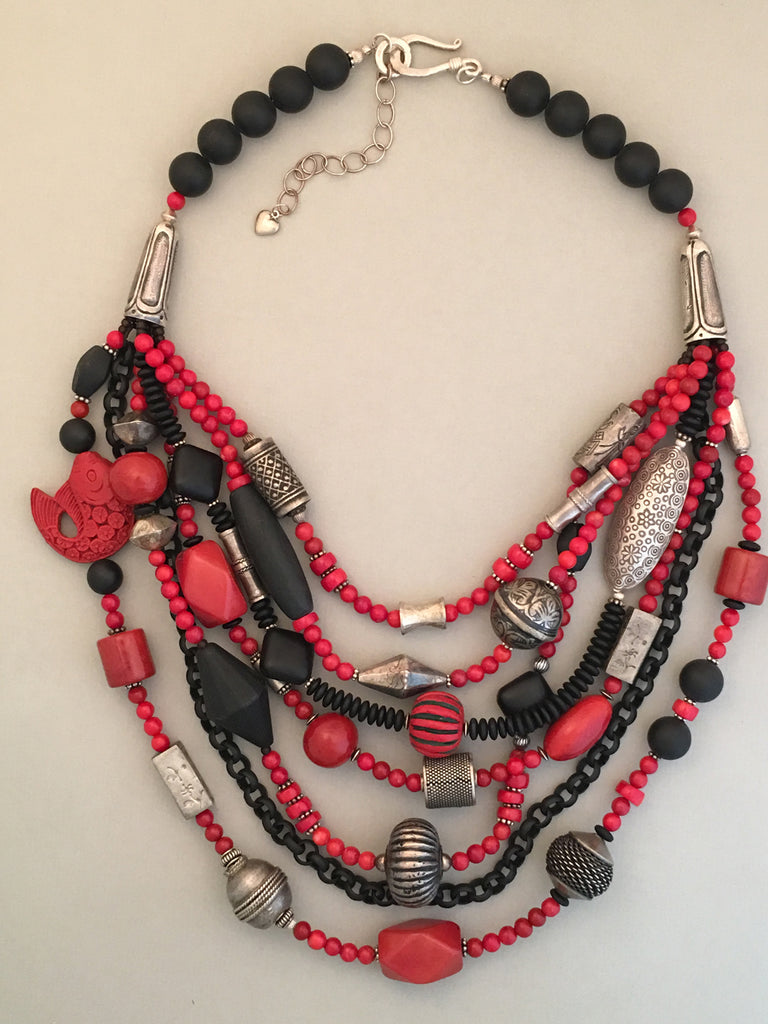 Multi-Strand Red and Black Bead and Silver Statement Necklace