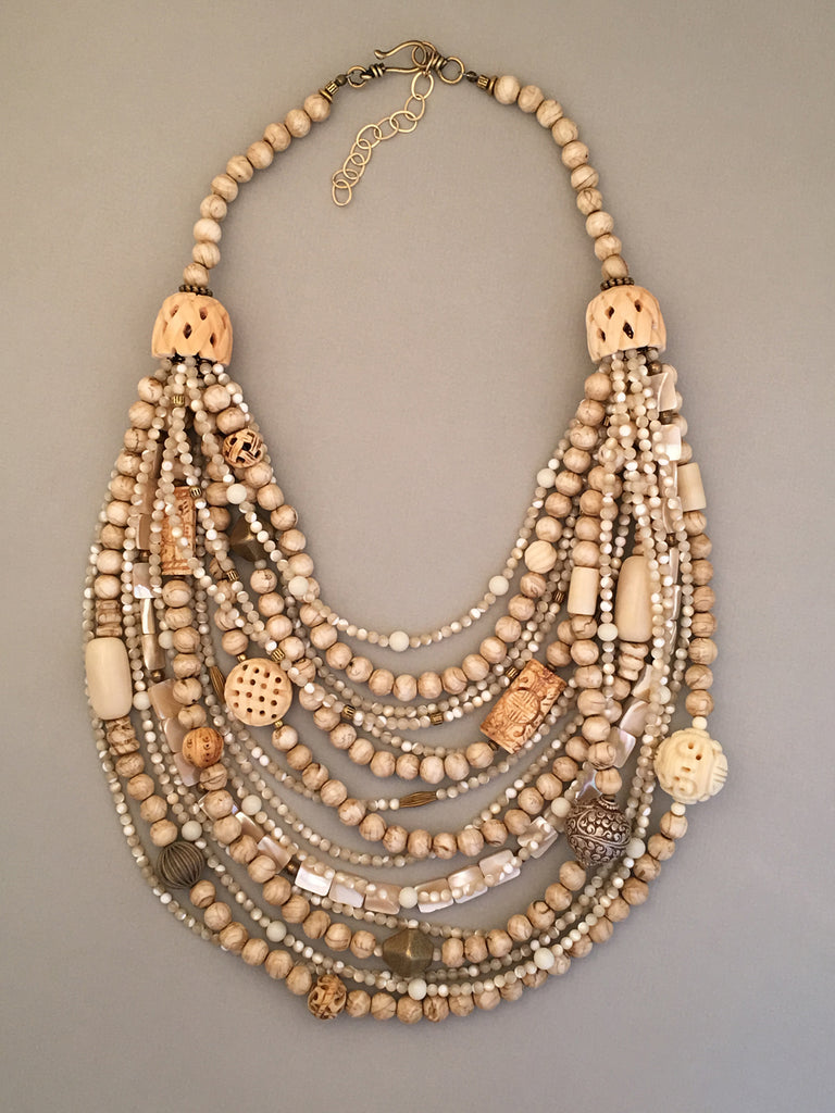 Multi-Strand Shell and Brass Statement Necklace
