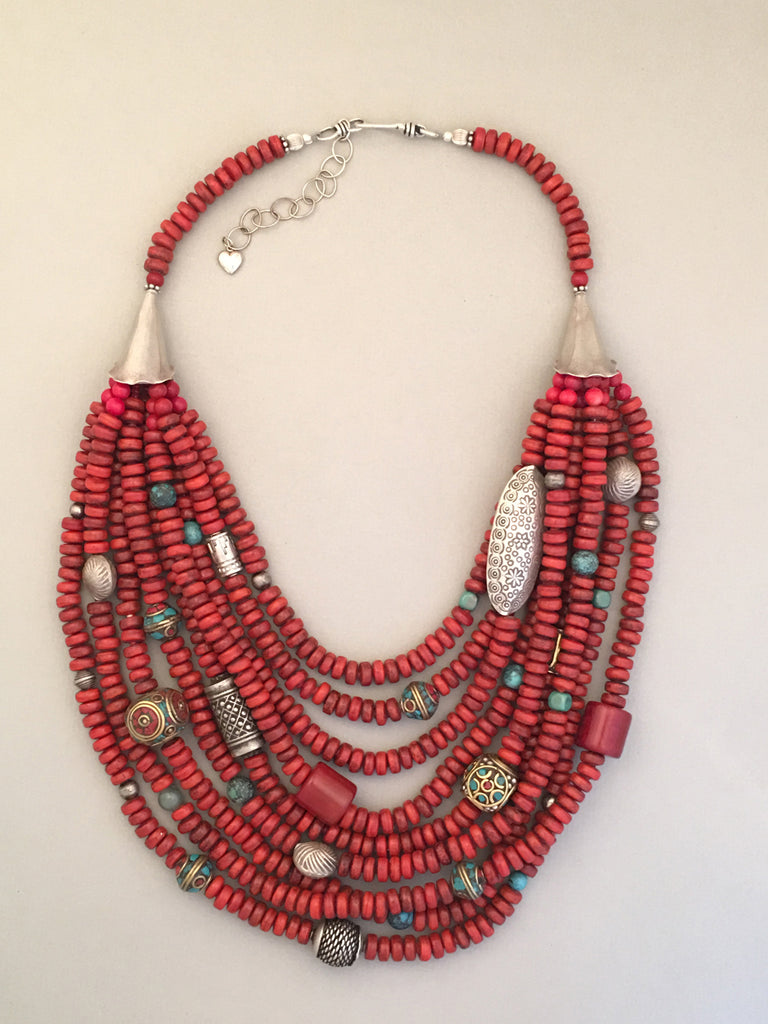 Multi-Strand Red Tibetan Glass and Silver Statement Necklace