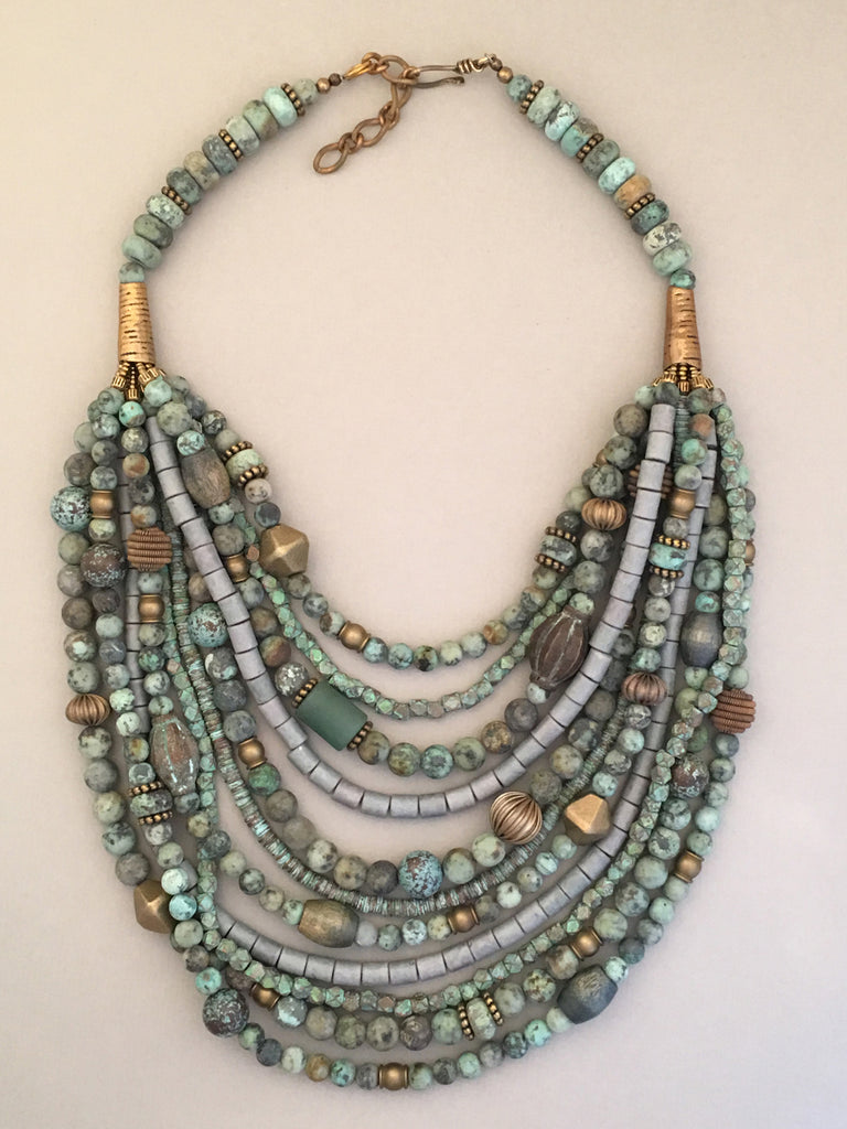 Multi-Strand African Turquoise with Brass Statement Necklace