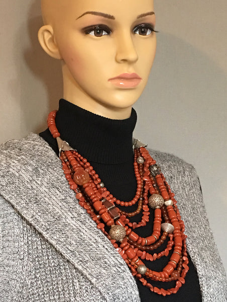 Multi-Strand Red Jasper and Silver Statement Necklace