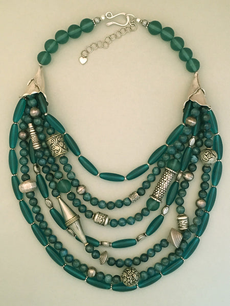 Multi-Strand Apatite and Silver Statement Necklace