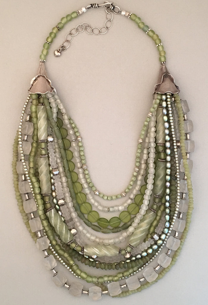 Green Mixed-Bead and Silver Statement Necklace