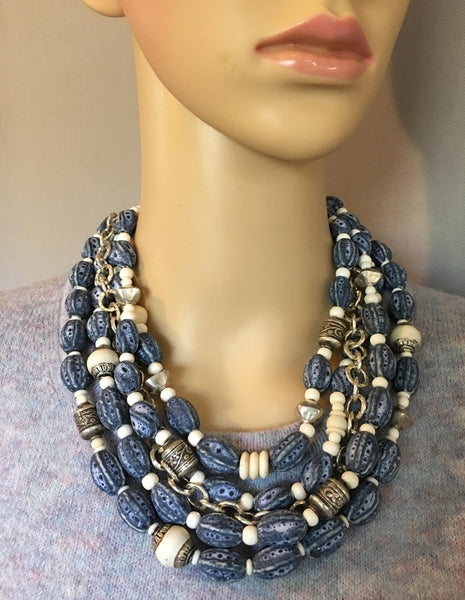 Multi-Strand Blue Afghan Ceramic Statement Necklace