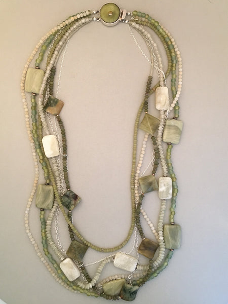 Long Green Mixed Bead and Silver Statement Necklace