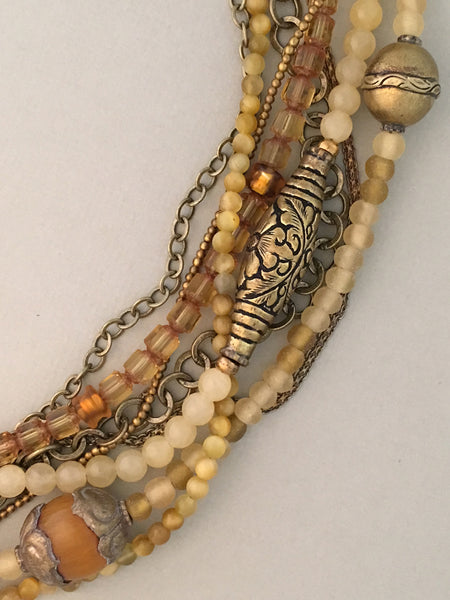 Long Mixed-Bead and Brass Multi-Strand Statement Necklace