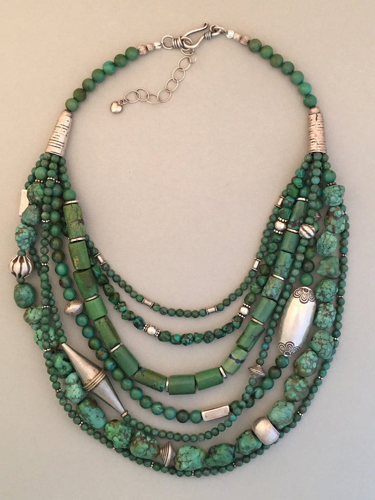 Multi-Strand Natural Chinese Turquoise Statement Necklace