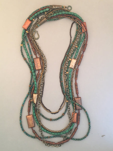 Long Turquoise and Brass Multi-Strand Statement Necklace