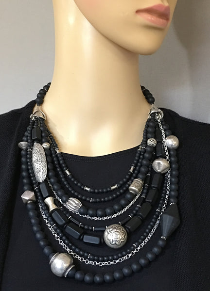 Multi-Strand Black Onyx and Silver Statement Necklace