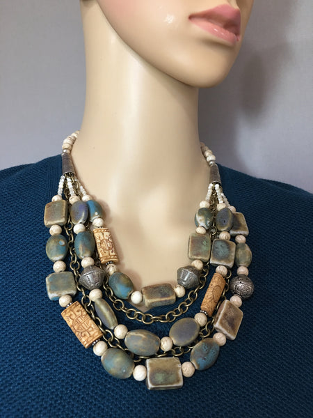Multi-Strand Afghan Ceramic Statement Necklace