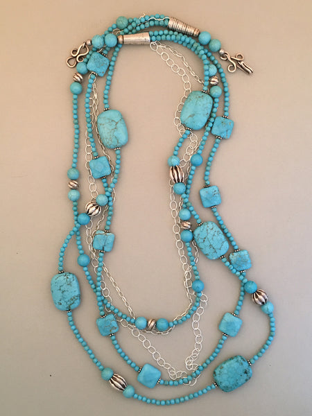 Long Blue Turquoise Statement Necklace