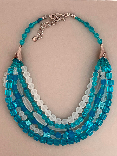 Multi-Strand Blue and White Resin Statement Necklace