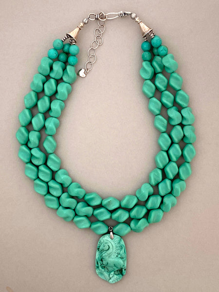 Multi-Strand Vintage Glass Statement Necklace